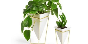 White Geometric Desk Vase Set with Gold Stand