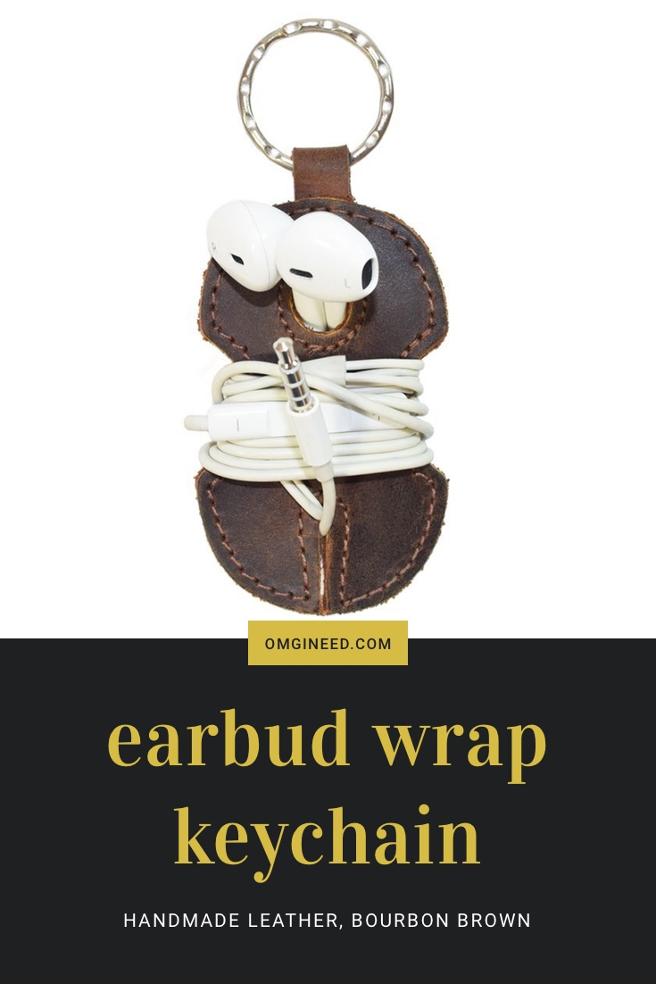 Rustic Handmade Leather Key Chain and Earbud Wrap