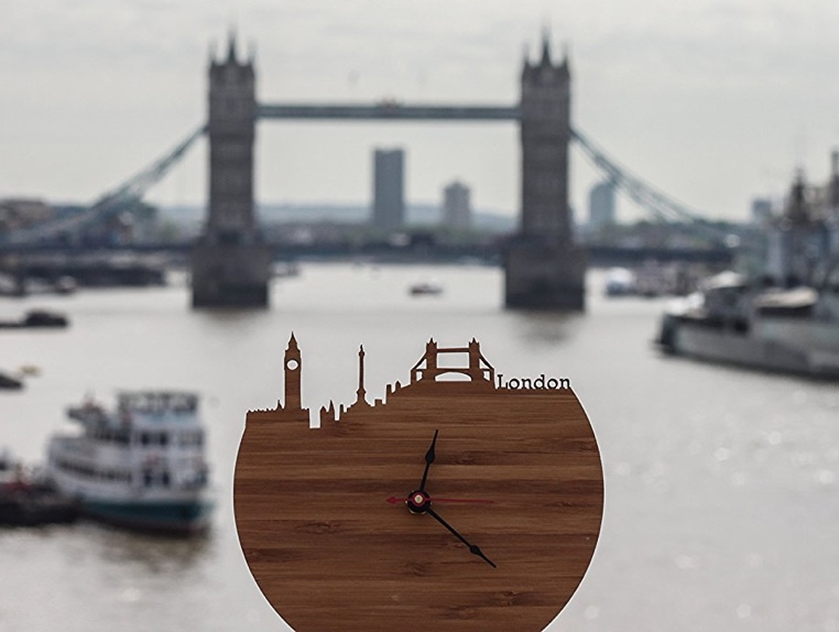 Handmade Wooden London Skyline Clock