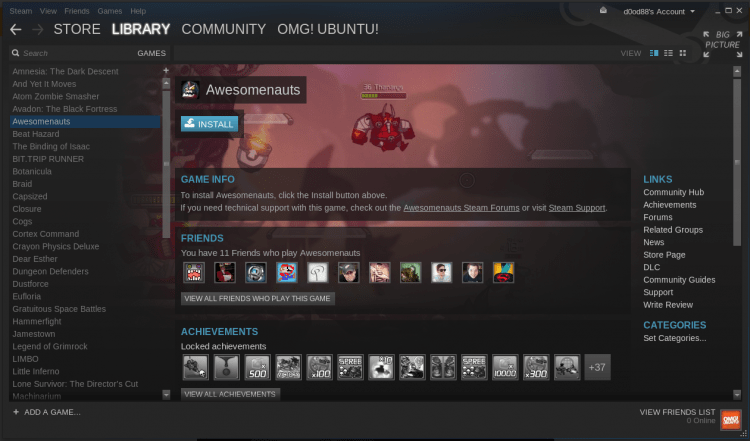 Steam for Linux running on Ubuntu