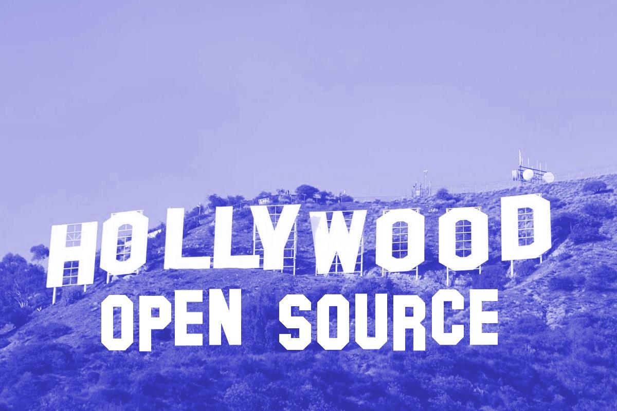 Letreiro de Hollywood com o logotipo do código aberto