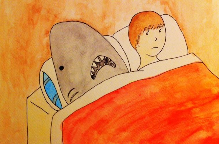 shark in bed