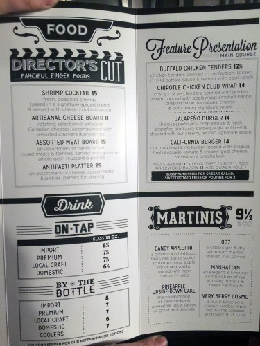 Scotiabank Theatre Saskatoon VIP Cineplex Menu
