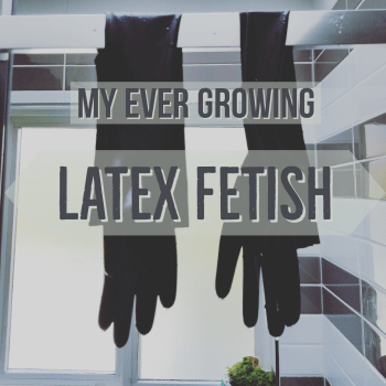 my ever growing latex fetish black latex gloves hanging to dry