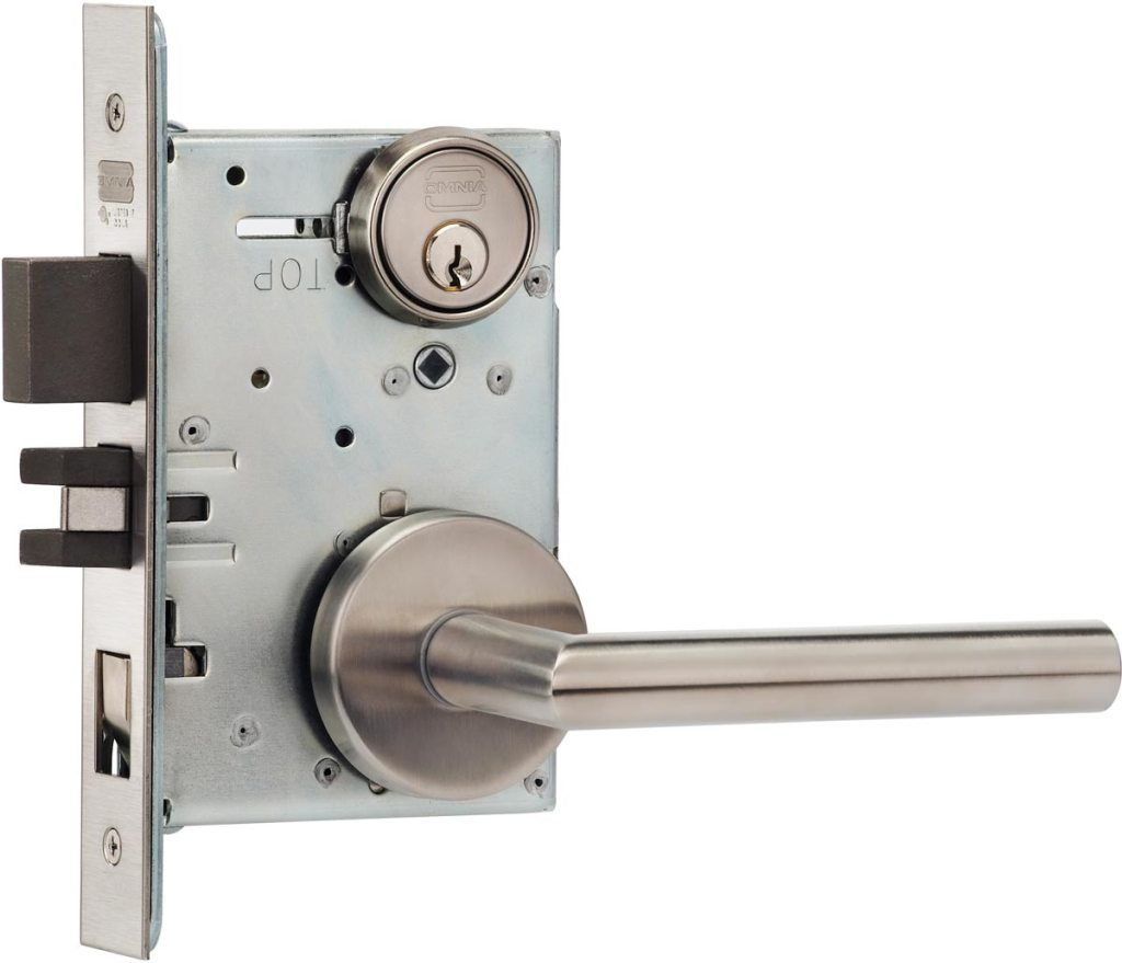 Item No.2012 (Modern Mortise Lever Lockset with Roses - Stainless Steel)