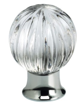 Item No.4405 (Cabinet Knob - Glass) in finish Transparent Glass with U26 (Polished Chrome) Base