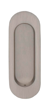 Item No.652 (Modern Oval Flush Pull - Solid Brass) in finish US15 (Satin Nickel Plated, Lacquered)
