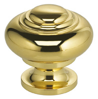 Item No.9102 (Classic Cabinet Knob - Solid Brass) in finish US3 (Polished Brass, Lacquered)
