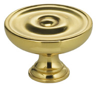 Item No.9136 (Classic Cabinet Knob - Solid Brass) in finish US3 (Polished Brass, Lacquered)