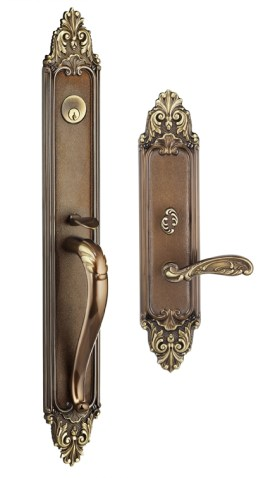 Item No.Georgica w/ 233 (Exterior Ornate Mortise Entrance Handleset Lockset - Solid Brass)