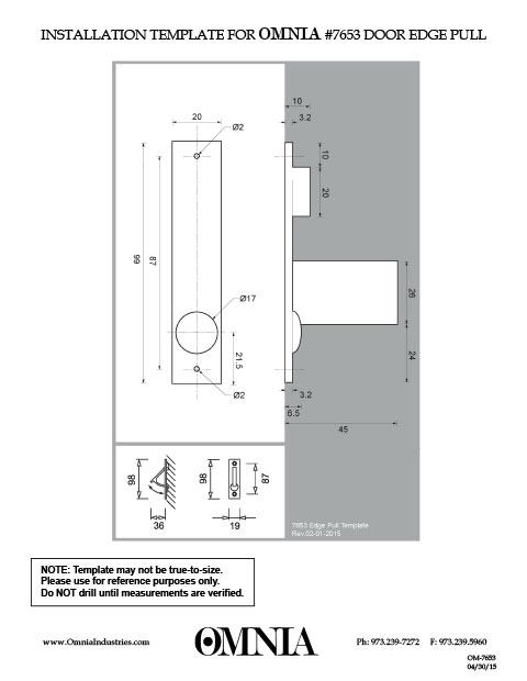 OMNIA 7653 Door Edge Pull Installation Template  sc 1 st  OMNIA Industries & Installation Templates - OMNIA Industries