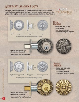 OMNIA Classico Auxiliary Deadbolts Product Data