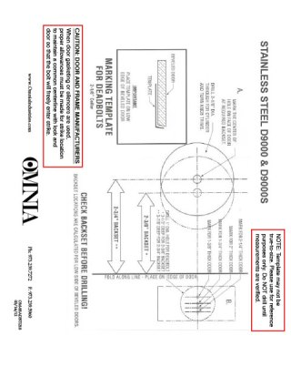 OMNIA D9000 & D9000S Stainless Steel Auxiliary Deadbolts Installation Template