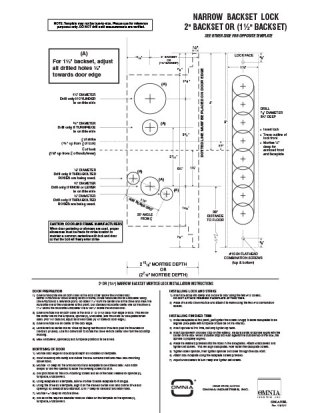 OMNIA 1-1/2″ & 2″ Narrow Backset Mortise Locksets Installation Template