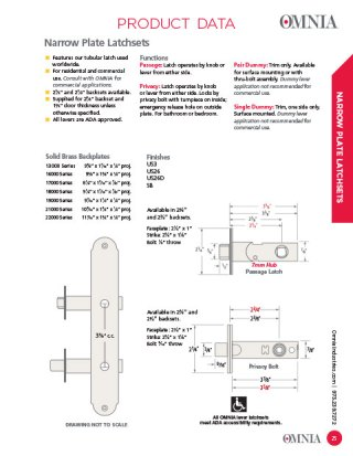 OMNIA Narrow Plate Latchsets Product Data