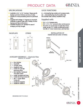 OMNIA Solid Brass Auxiliary Deadbolts Product Data