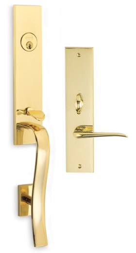 Item No.Waldorf w/ 42 trim (Exterior Traditional Mortise Entrance Handleset Lockset - Solid Brass)