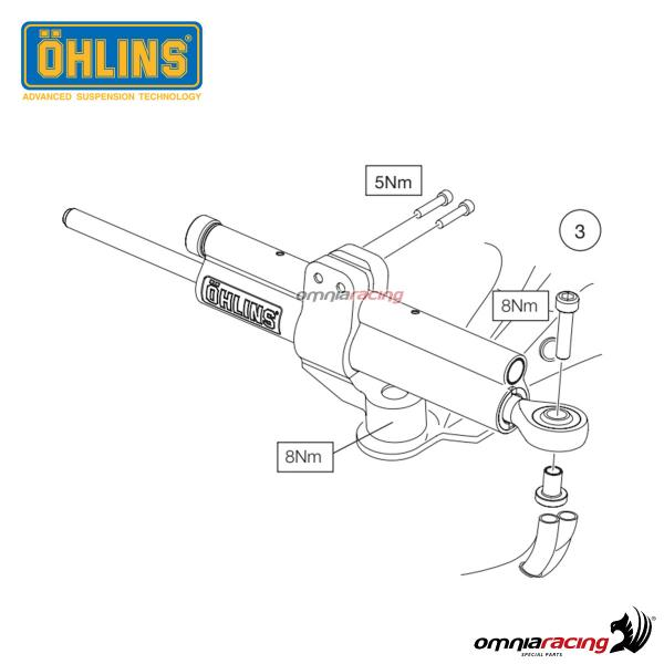 Linear Steering Damper Ohlins with Mounting Kit for Ducati