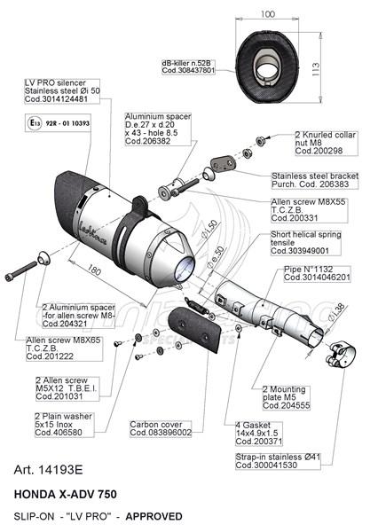 Leovince Exhaust Slip-on Lv Pro Inox Homologated for Honda
