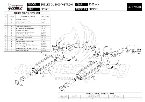 Mivv Suono Stainless Steel Exhausts for Suzuki Dl 1000 V
