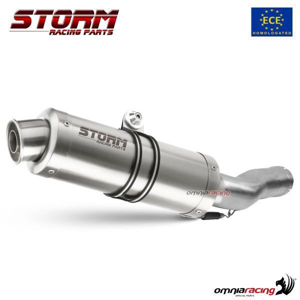 storm gp stainless steel exhaust slip on homologated for suzuki sv650 2004 2015