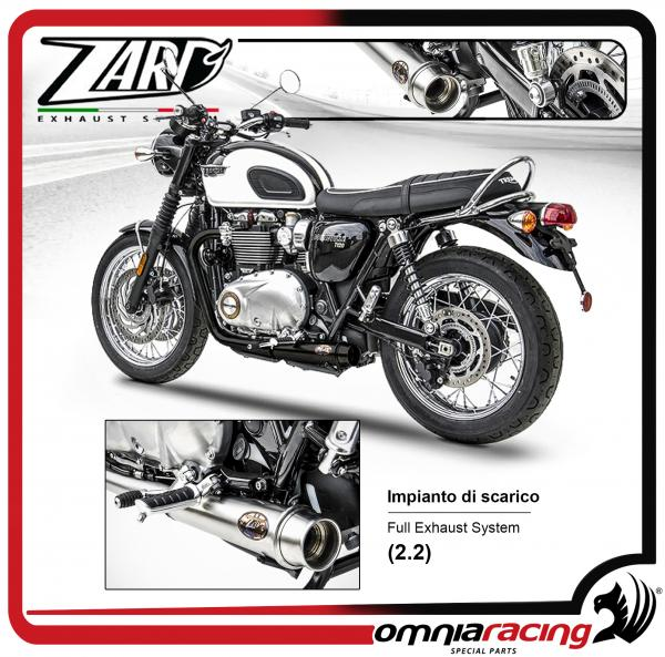 zard full exhaust system 2 2 racing stainless steel black ceramic for triumph bonneville t120