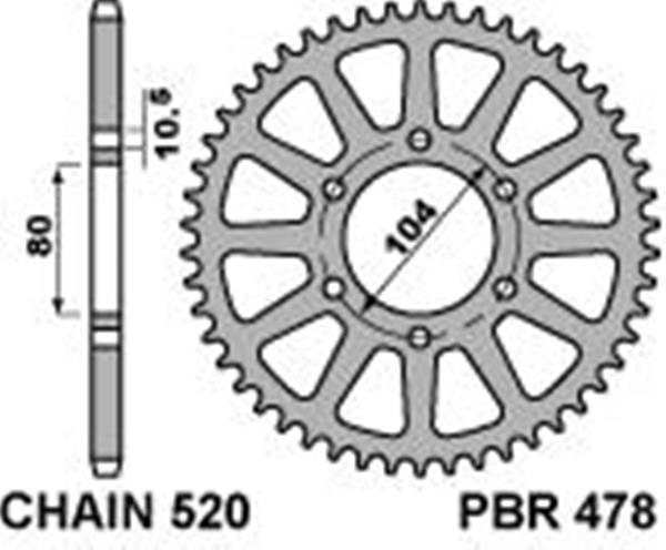 Corona PBR in ergal indurito passo 520 denti 44 per