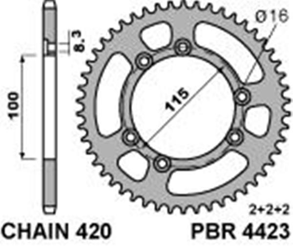 Rear ergal and steel sprocket for motorbike transmission