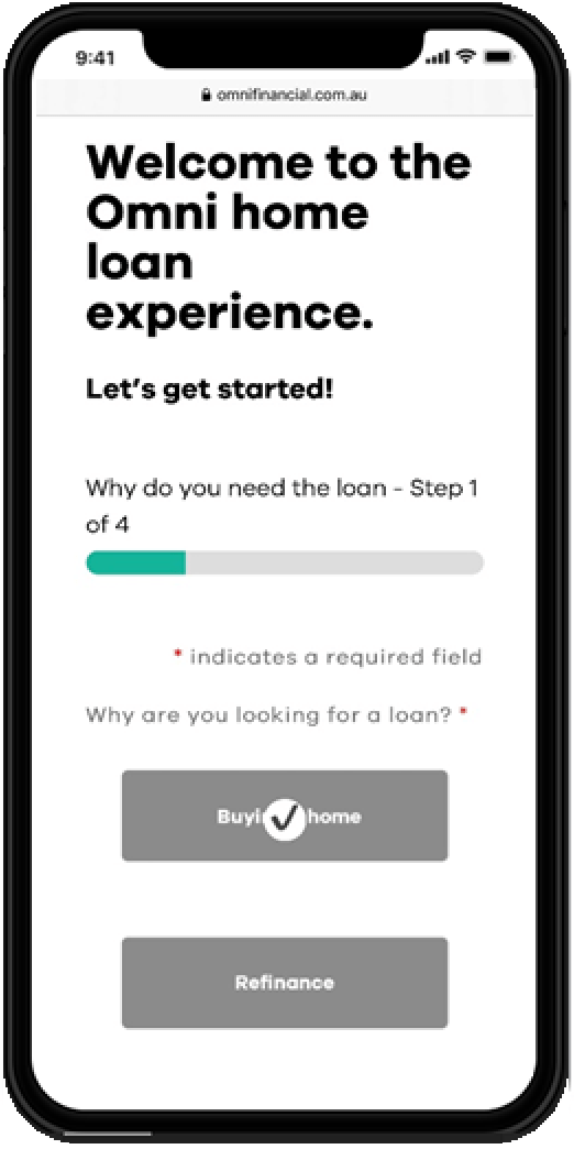 Mobile phone screen showing first page of online home loan application