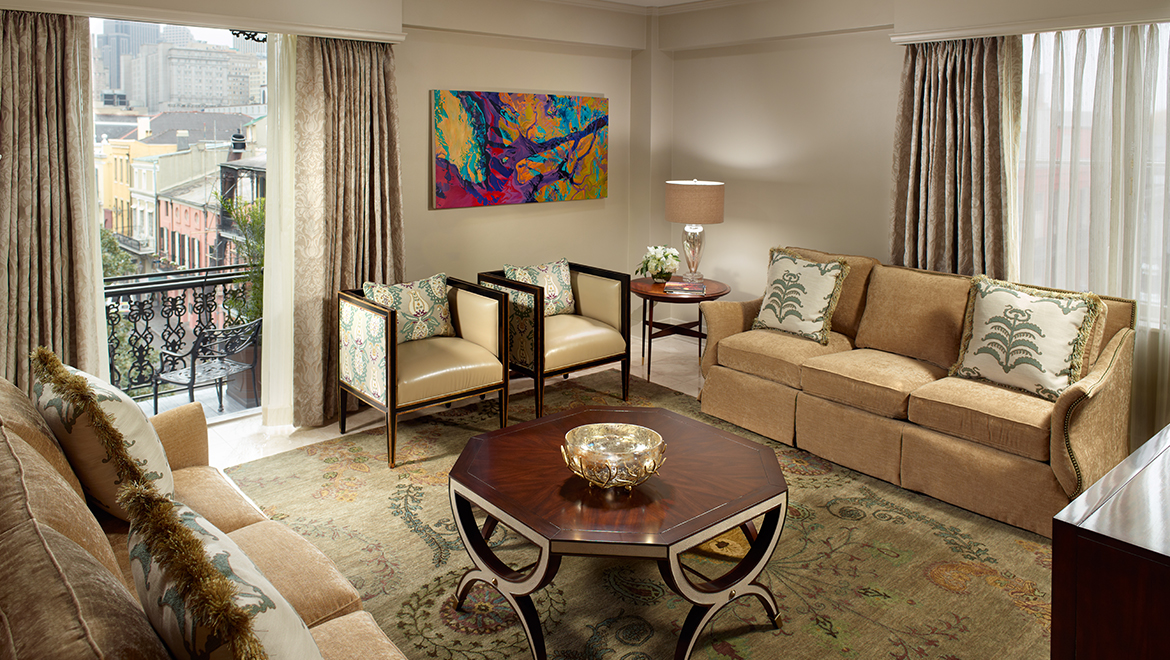 tall living room chairs glass wall shelves for new orleans hotel suites with jacuzzi | omni royal