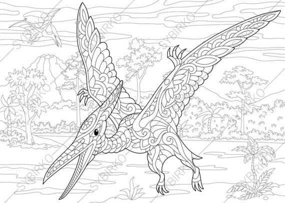 Kleurplaat Dinosaurus A4