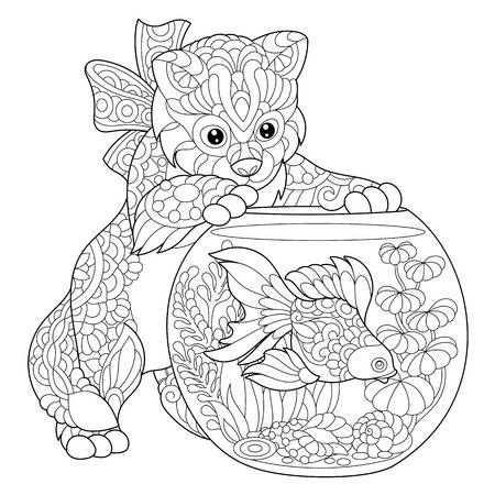 Kleurplaat Kitten Mandala