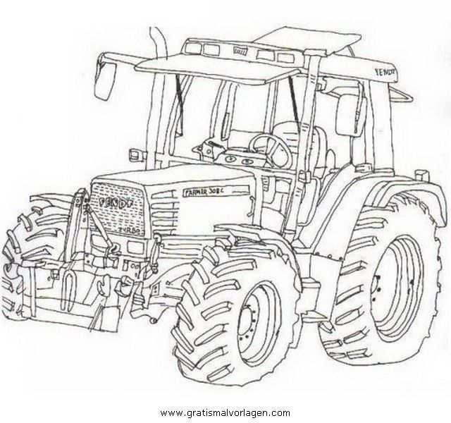 Kleurplaat Tractor Fendt