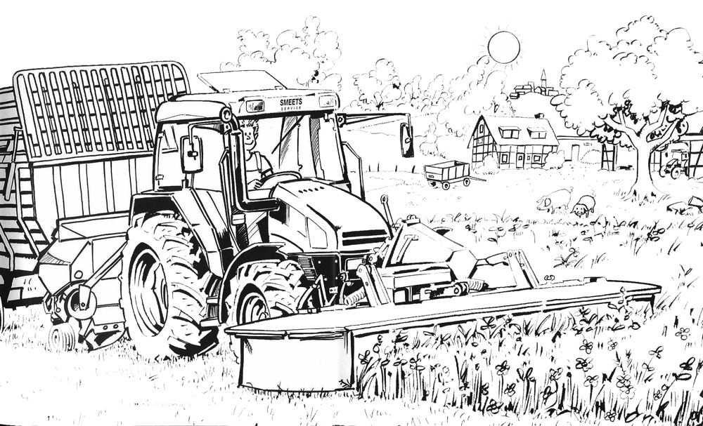 Kleurplaat Tractor Met Maaier