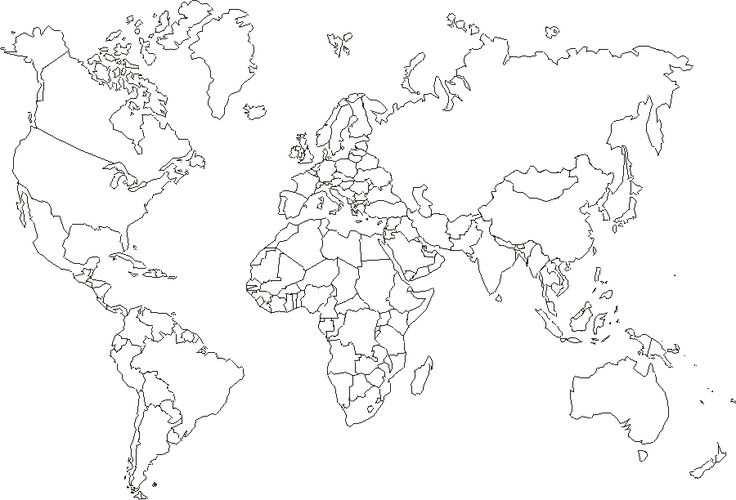 Wereldkaart Kleurplaat Groot