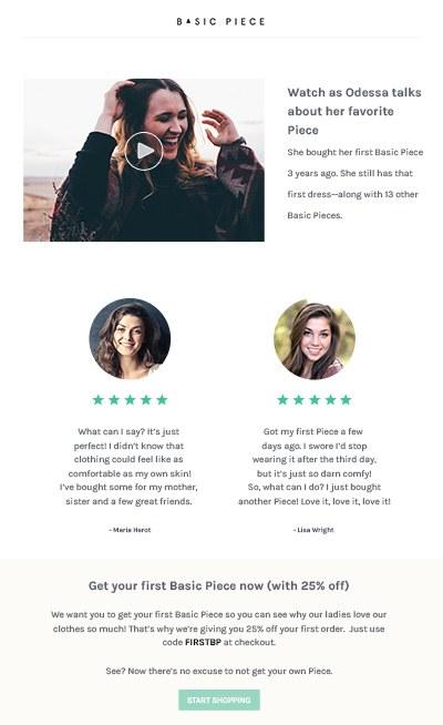 Dans notre finale email pour notre accueil email série, nous montrons d'excellents commentaires des clients et offrons une offre d'incitation