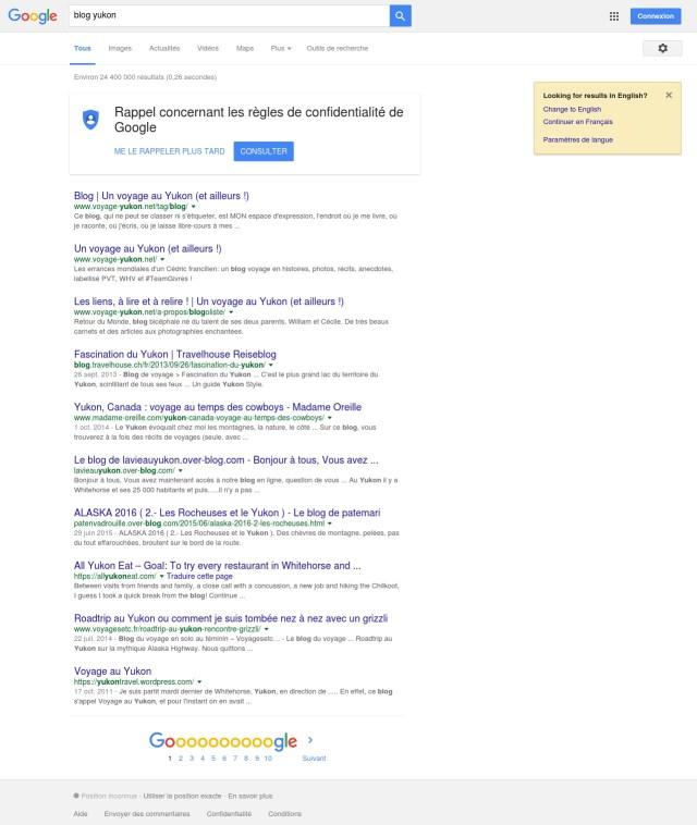 Requête Google - Blog Yukon