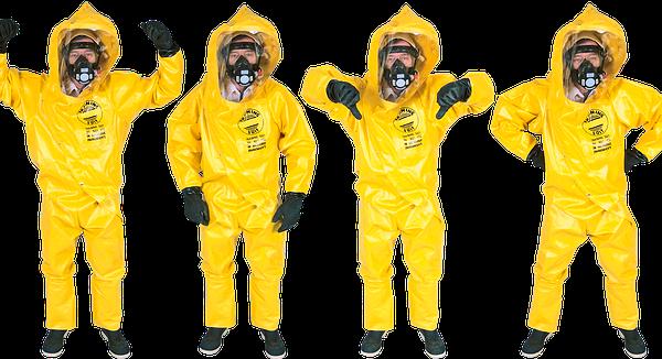 黄色い防護服を着た人