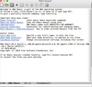 emacs welcome screen