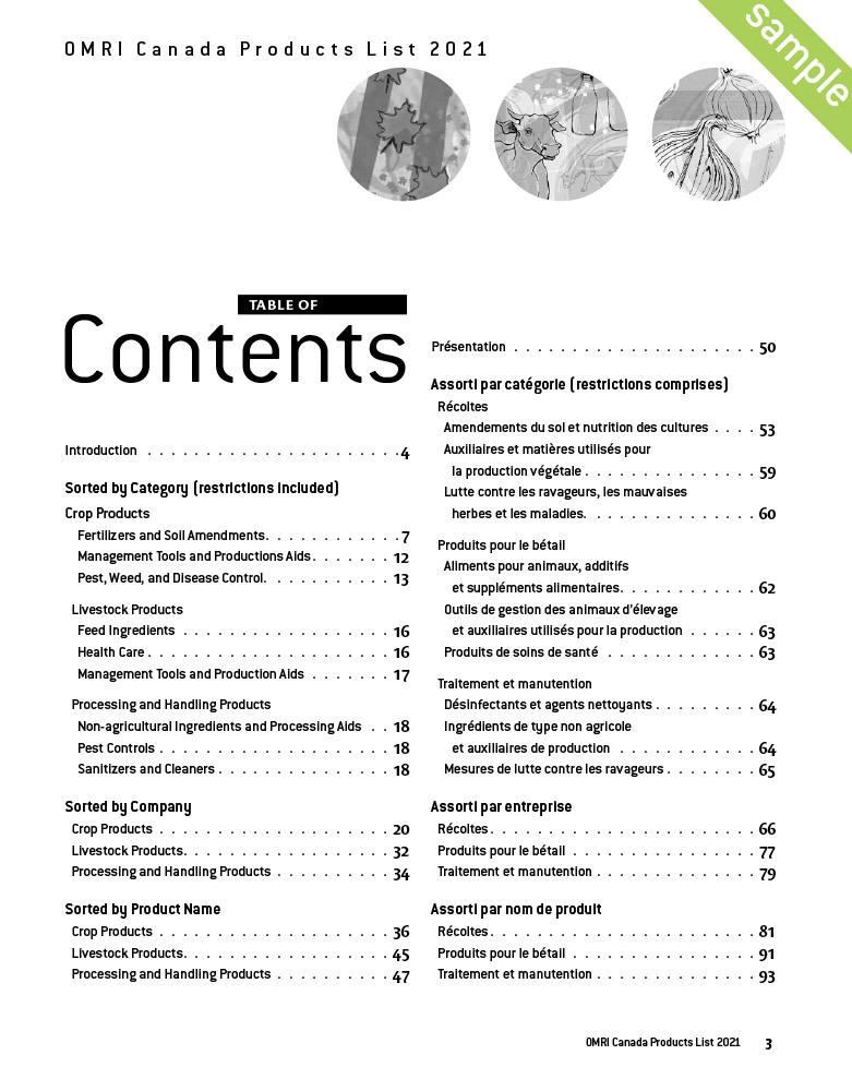 Omri Canada Products List