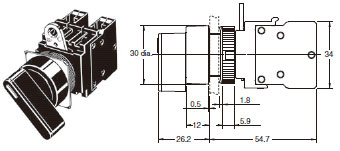 A22[] Knob-type Selector Switch (Cylindrical 22/25-dia