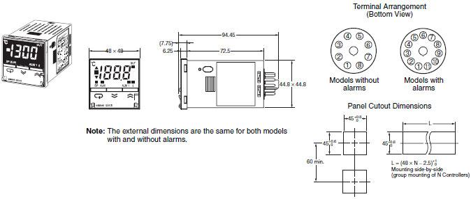 omron temperature controller wiring diagram 1992 toyota mr2 radio e5cs controllers dimensions industrial 2