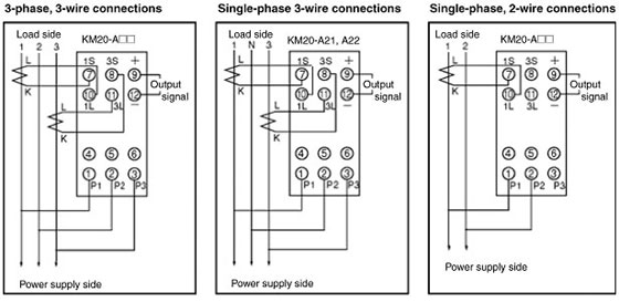 3 Phase Motor Connection Diagram Km20 Power Sensor Wiring Method And Current Transformer