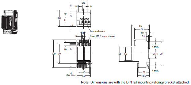 61F-G[]N Floatless Level Switch (Compact Type)/Dimensions