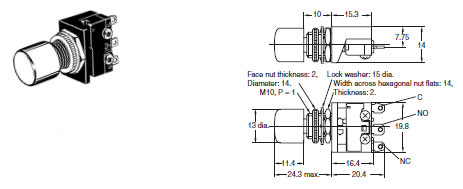 A2A Subminiature Pushbutton Switch (Cylindrical 10.5-dia