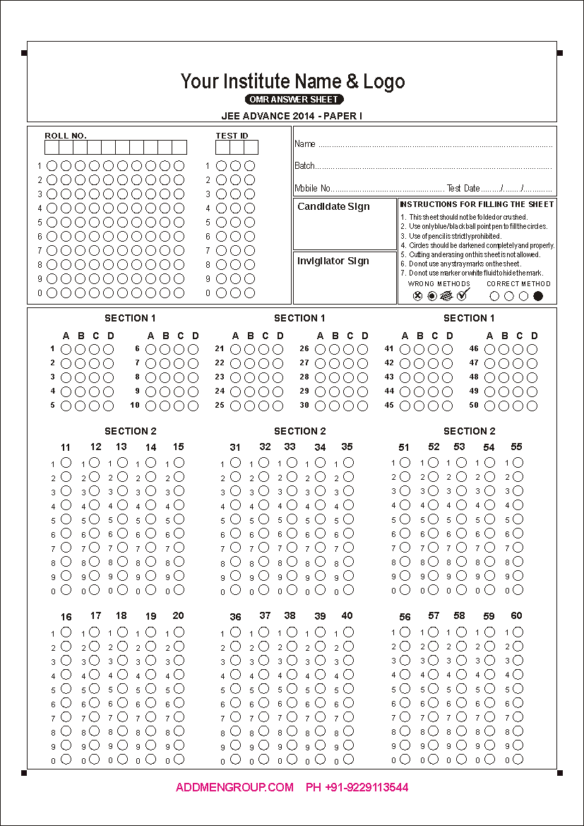 OMR Test Answer Sheet Checker, OMR Test Sheet form Reader