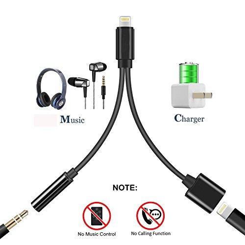 Adapter für iPhone 7. Lightning auf 3.5 mm AUX Adapter Kopfhörer Jack für iPhone 8. 2-in-1 Lightning-Adapter für iPhone. unterstützt iOS 11 ...