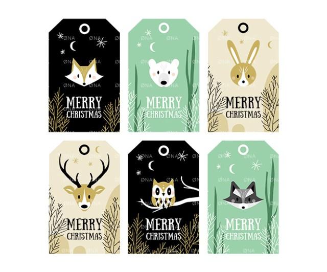 Merry christmas woodland animals tags DIY printable