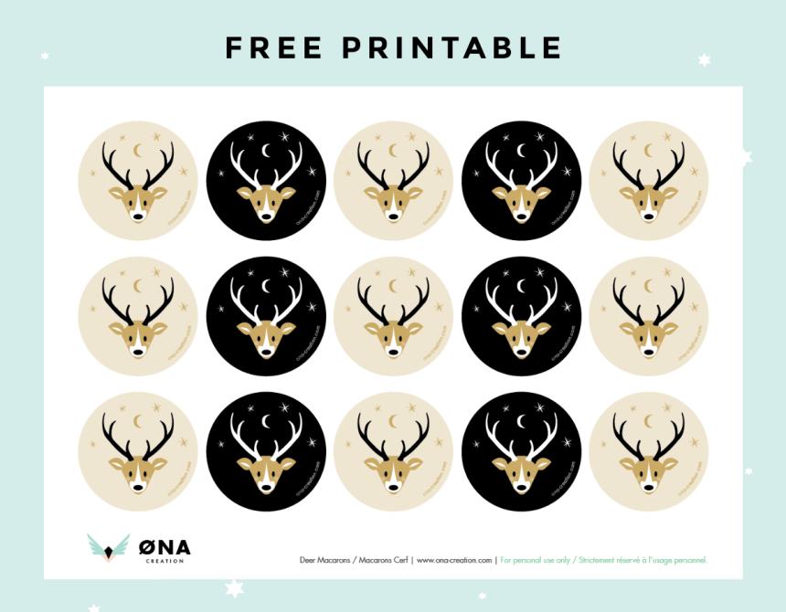 Free printable Deer circle tag stickers Cerf