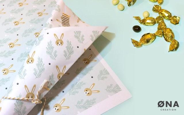 cornet de bonbons chocolat pour pâques - motif lapin de pâques
